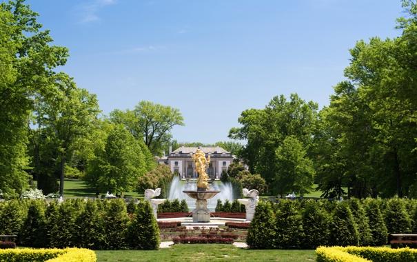 Фото обои зелень, деревья, дизайн, парк, красота, фонтан, США