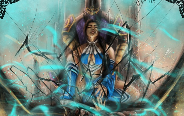 Фото обои стекло, девушка, трещины, мужчина, Mortal Kombat, Китана, Рейн