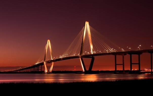 Фото обои мост, огни, река, bridge