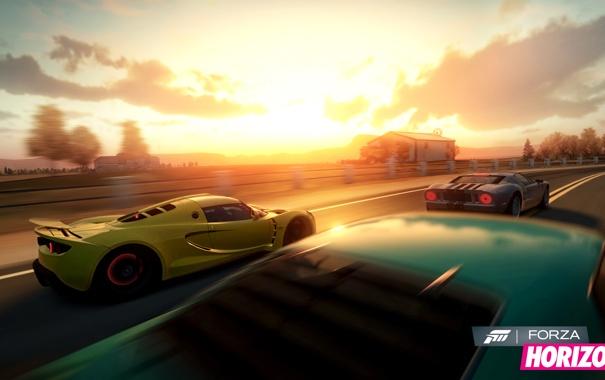 Фото обои машины, гонка, вечер, lotus, Forza Horizon