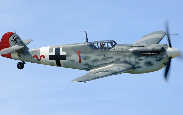 Фото обои полет, самолет, истребитель, пилот, пропеллер, Ме-109, Мессершмитт