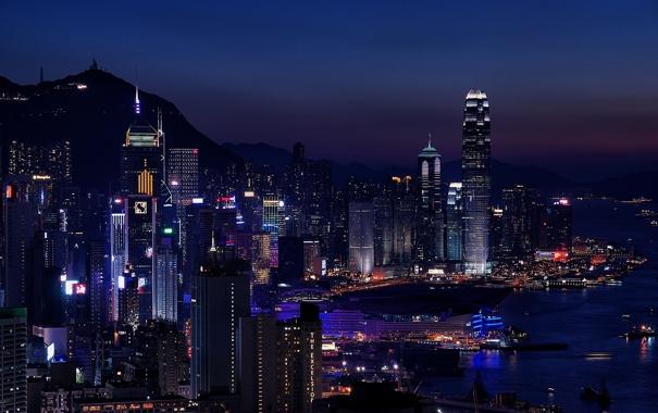 Фото обои ночь, город, огни, здания, Гонконг, небоскребы, вечер