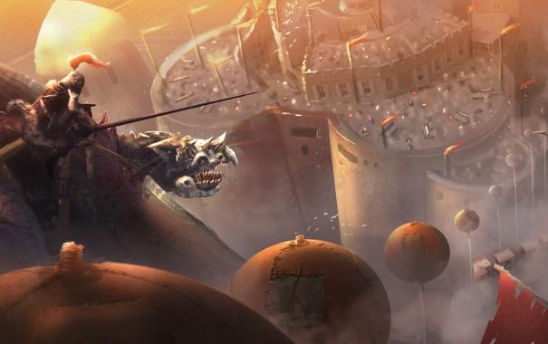 Фото обои полет, город, дракон, человек, высота, арт, всадник