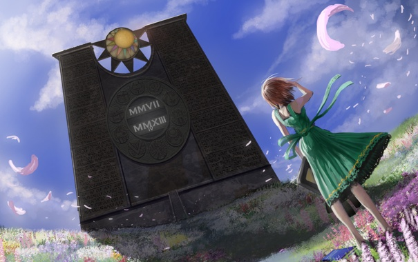 Фото обои девушка, стена, арт, WandererLink