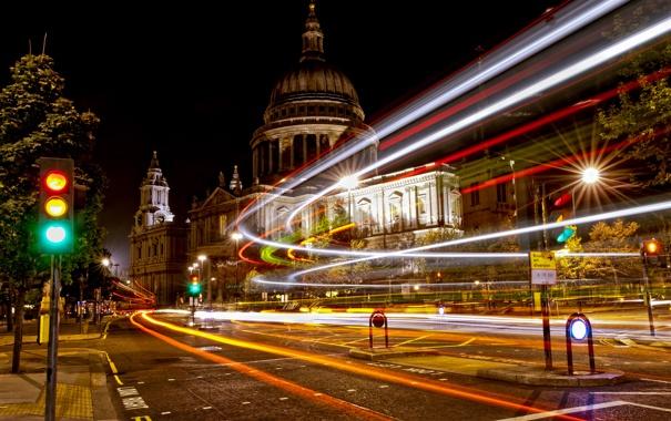Фото обои свет, ночь, город, улица, англия, лондон, выдержка