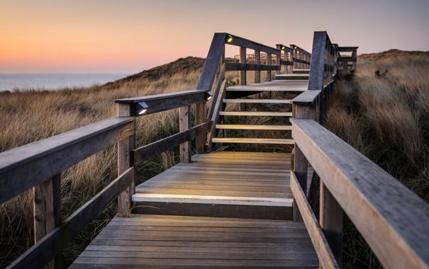 Фото обои закат, пейзаж, ступени