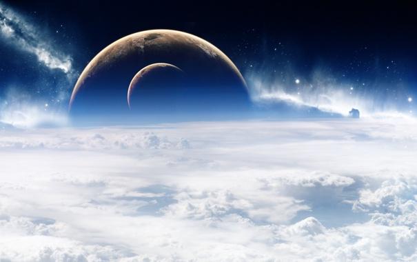 Фото обои Облака, Планеты, Clouds, Звезды