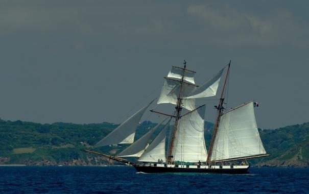 Фото обои море, корабль, парусник