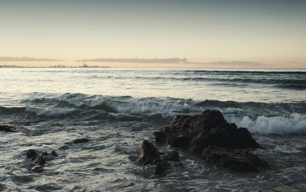 Фото обои закат, камни, горизонт, небо, волны, море, обои