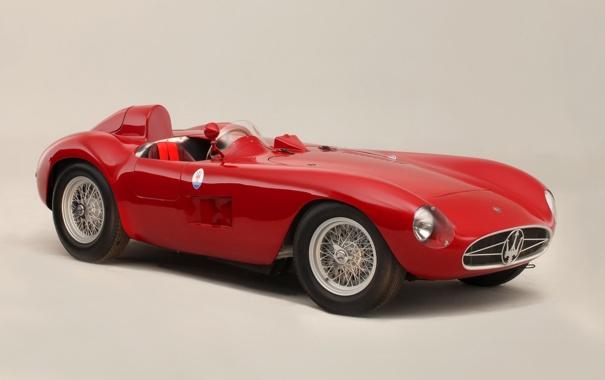 Фото обои красный, Maserati, Мазерати, классика, передок, 1956, 300S