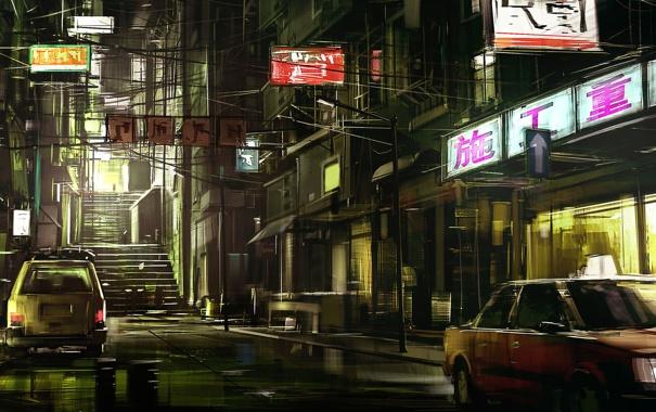 Фото обои ночь, улица, Япония, знаки, вывески, автомобили, магазинчики