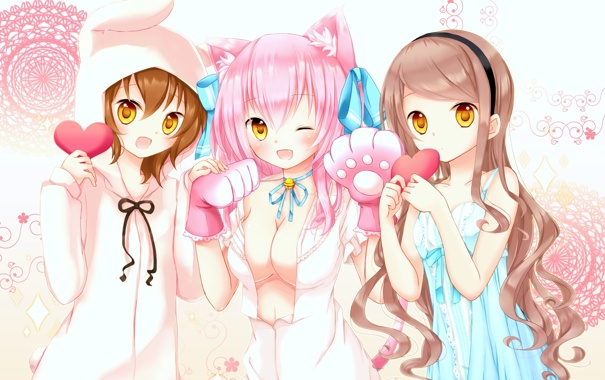 Фото обои кошка, грудь, девушка, лапки, аниме, кролик, костюм