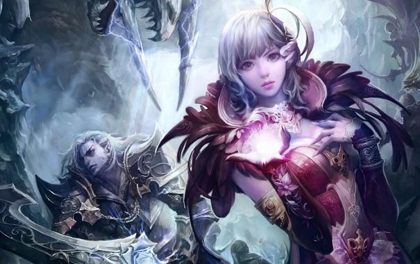 Фото обои девушка, магия, меч, воин, Aion