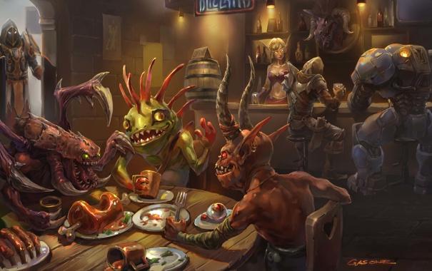 Фото обои еда, starcraft, Blizzard, выпивка, персонажи, world of warcraft, кабак