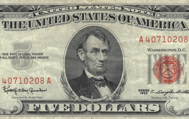 Фото обои Lincoln, red, note, five, dollar, united, reserve