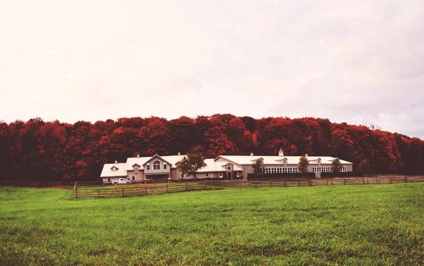 Фото обои машина, небо, деревья, дом, красные