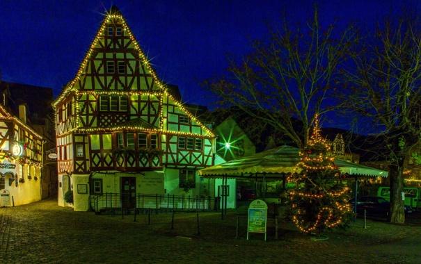 Фото обои город, фото, улица, дома, Ночь, Германия, Ediger-Eller