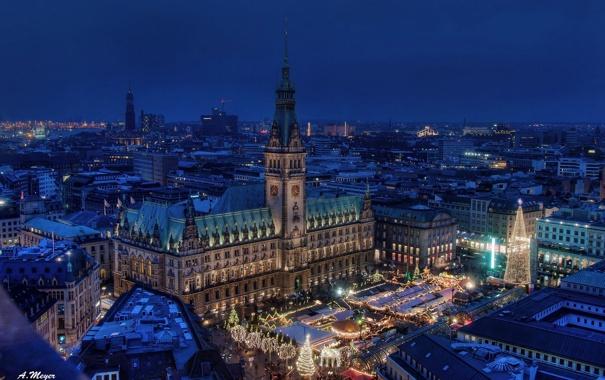 Фото обои здания, Германия, площадь, ночной город, Гамбург, Germany, ратуша