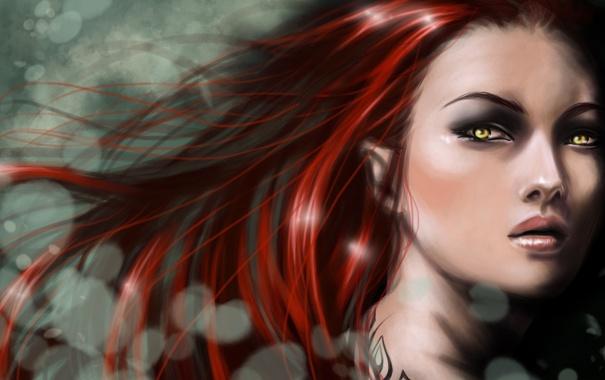 Фото обои девушка, лицо, арт, рыжая