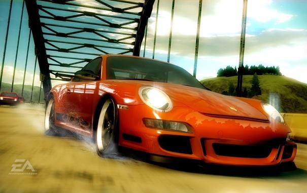 Фото обои дорога, брызги, мост, гонка, Need for Speed Undercover, Porsche gt3 rs