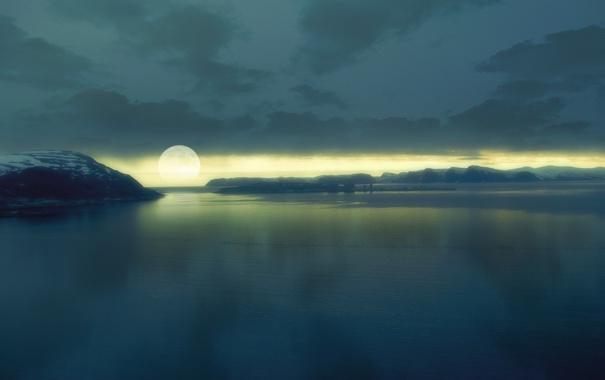 Фото обои гладь, луна, moonset