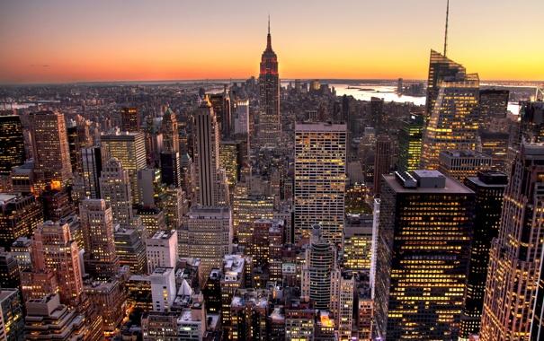 Фото обои город, new york, empire state building