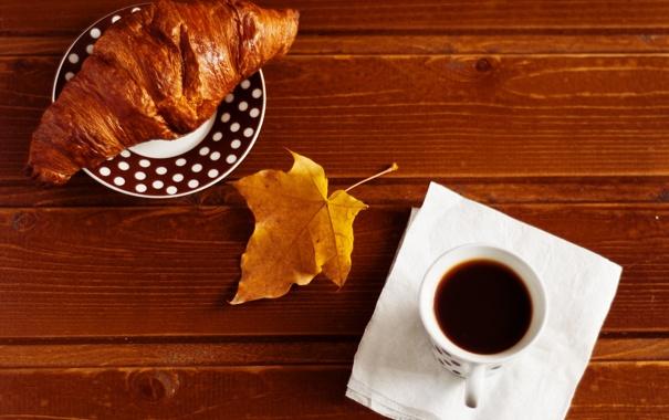 Фото обои жёлтый, стол, кофе, чашка, кленовый лист, блюдце, салфетка