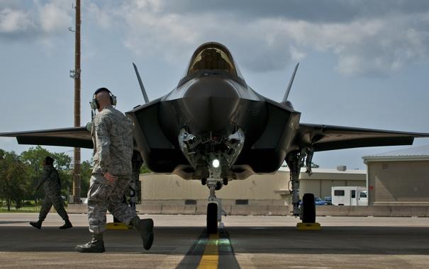 Фото обои ВВС США, Lightning II, F-35, Истребителей-бомбардировщик