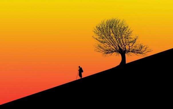 Фото обои силуэты, человек, дерево