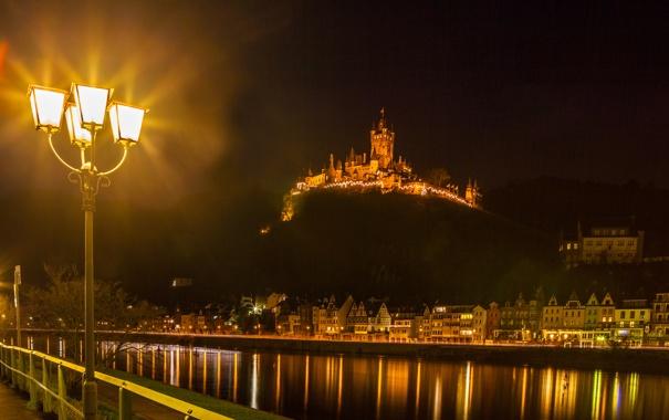 Фото обои ночь, город, река, фото, замок, Германия, фонари