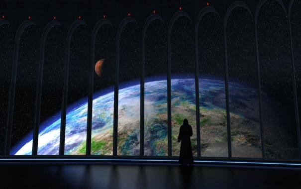 Фото обои космос, иллюминаторы, планета, арки, вид, человек