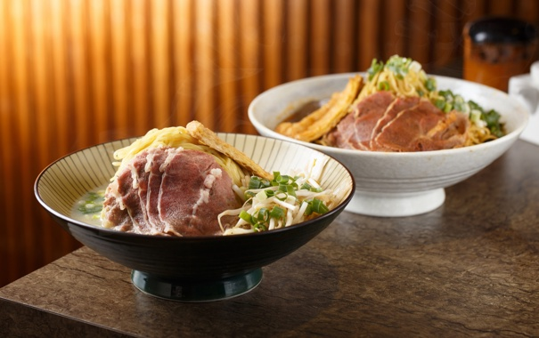 Фото обои зелень, мясо, японская кухня, лапша