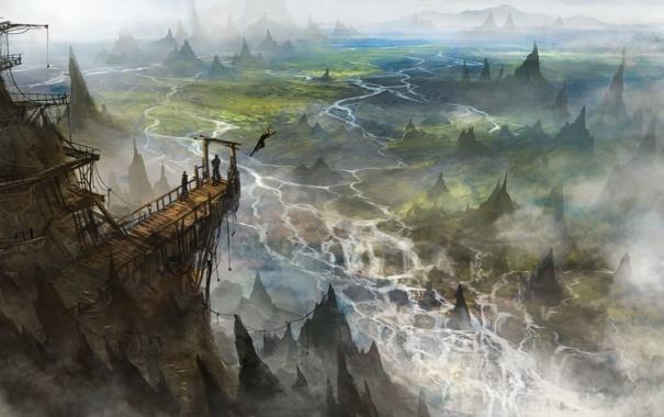 Фото обои деревья, пейзаж, мост, скала, люди, вид, арт