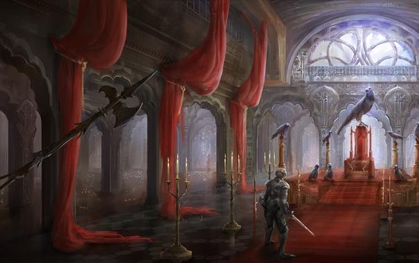 Фото обои птицы, оружие, замок, меч, свечи, воин, арт