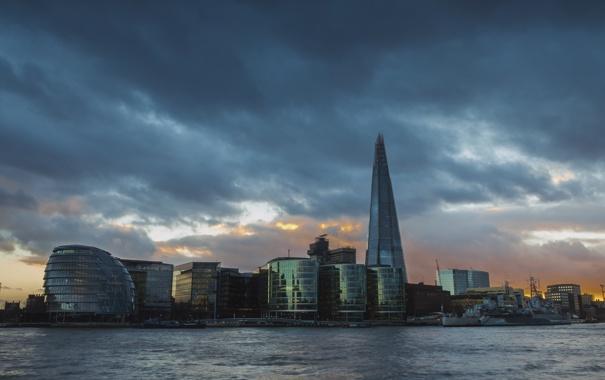 Фото обои Лондон, Англия, дома, небо, башня, тучи