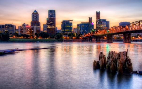Фото обои ночь, мост, город, река, HDR