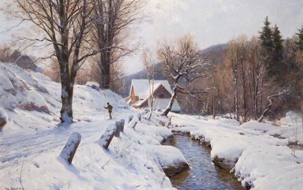 Фото обои зима, лес, снег, деревья, пейзаж, дом, река