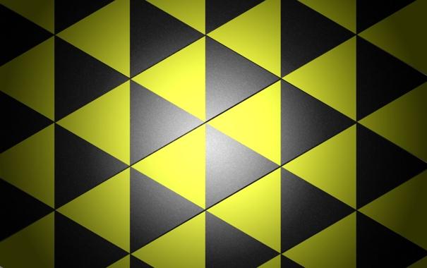 Фото обои желтые, фон, черные, треугольники