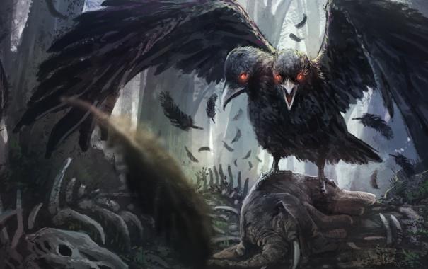 Фото обои фантастика, крылья, перья, арт, ворон, две головы
