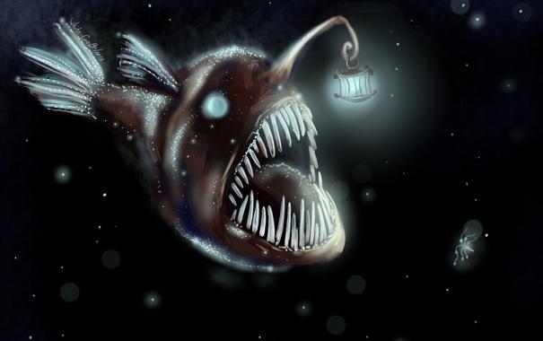 Фото обои монстр, рыба, фонарь, чёрный фон