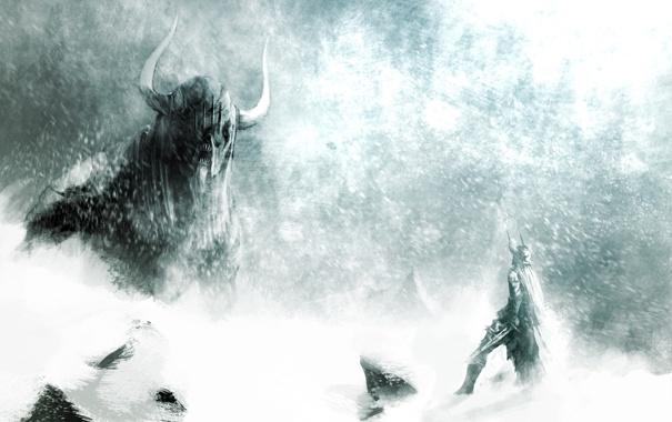 Фото обои монстр, буря, меч, доспехи, воин, Guild Wars 2, гигантский