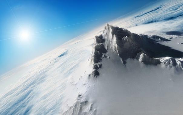 Фото обои солнце, облака, снег, пейзажи, небеса, высота, гора