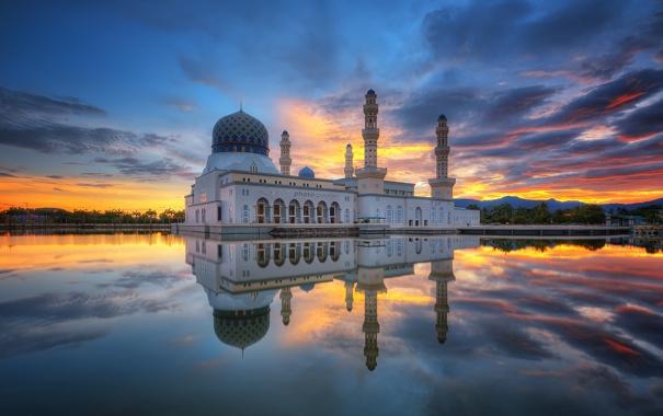 Фото обои облака, отражение, утро, зеркало, Малайзия, Likas Бэй, города Кота-Кинабалу Мечеть