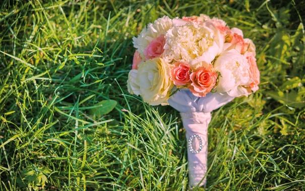 Фото обои трава, цветы, розы, букет, свадьба, flowers, bouquet