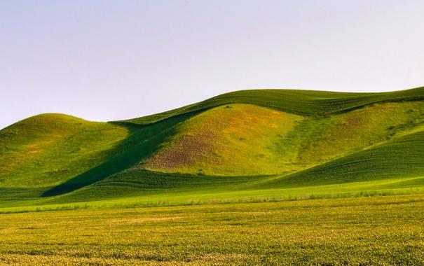 Фото обои небо, трава, горы, природа, холмы
