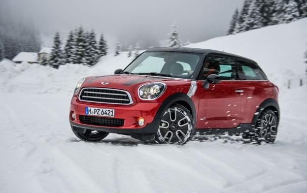 Фото обои Красный, Зима, Авто, Снег, Машина, Mini Cooper, MINI