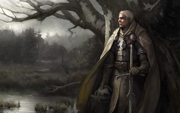 Фото обои болото, меч, шлем, рыцарь, плащ, disciples 3 resurrection