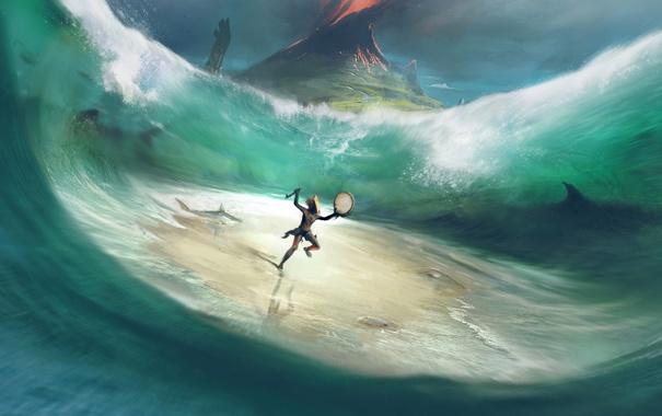 Фото обои море, вода, рыбы, магия, танец, вулкан, шаман