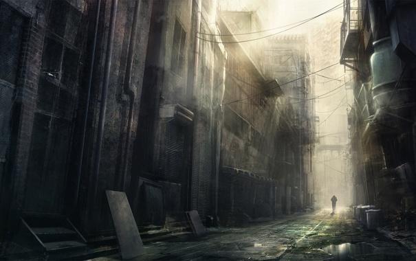 Фото обои korbox, арт, улица, человек, провода, лужа