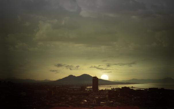 Фото обои солнце, город, фото, здания, обработка, небоскрёбы, высотки